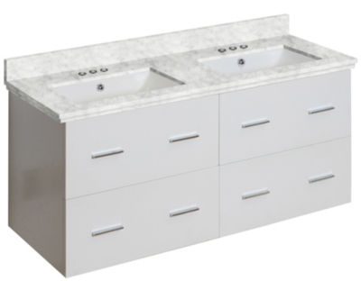 47.5-in. W Wall Mount White Vanity Set For 3H4-in.Drilling Bianca Carara Top White UM Sink
