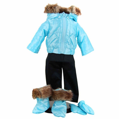 The Queen's Treasures 15 Inch Baby Doll Blue 6-pc.Snow Suit Outfit