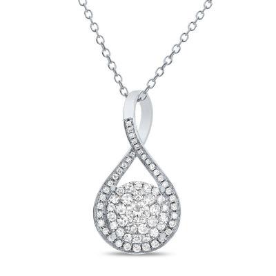 Womens 1/2 CT. T.W. White Diamond 14K White Gold Pendant Necklace