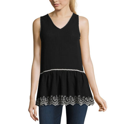Libby Edelman Libby Edelman Embroidered Sl Top Sleeveless V Neck Gauze Blouse
