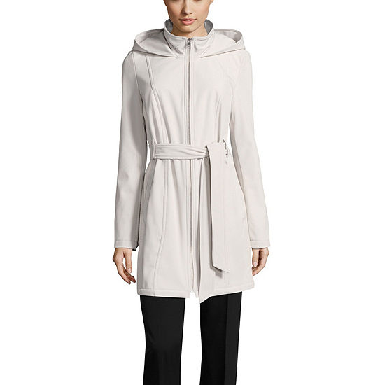 Liz Claiborne Hooded Belted Water Resistant Midweight Softshell Jacket