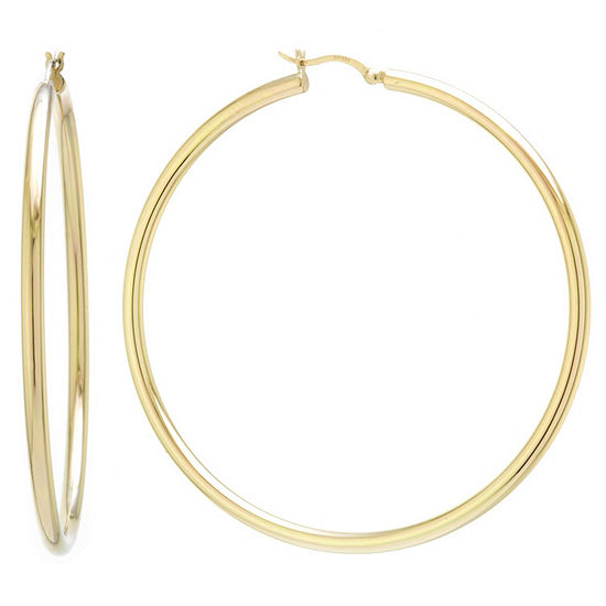 14K Gold Over Silver Sterling Silver 65mm Hoop Earrings