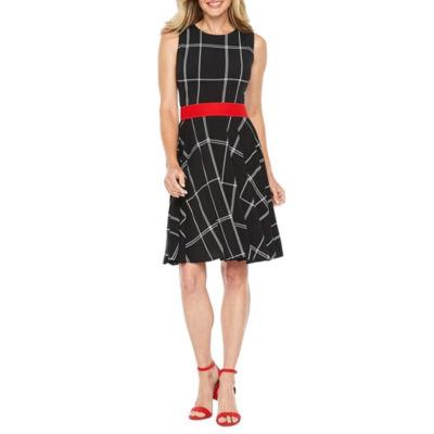 Danny & Nicole Sleeveless Grid Fit & Flare Dress