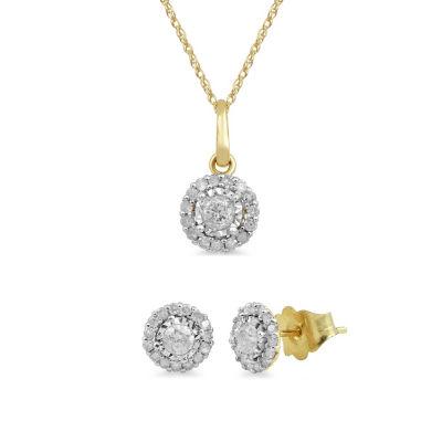 Womens Genuine White Diamond 10K Gold 2-pc. Jewelry Set
