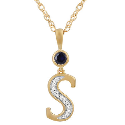 S Womens Lab Created Blue Sapphire 14K Gold Over Silver Pendant Necklace
