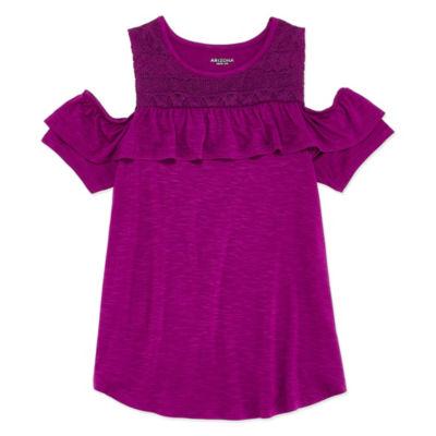 Arizona Crochet Cold Shoulder Top - Girls' 4-16 & Plus