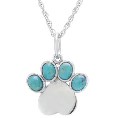 Womens Enhanced Blue Turquoise Pendant Necklace
