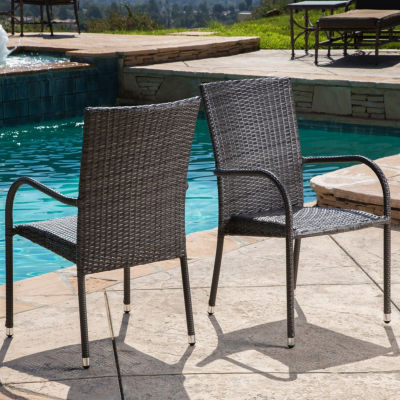 Normanni Outdoor Wicker Patio Dining Arm Chair Set Of 2