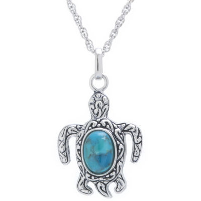 Womens Simulated Blue Turquoise Sterling Silver Pendant Necklace