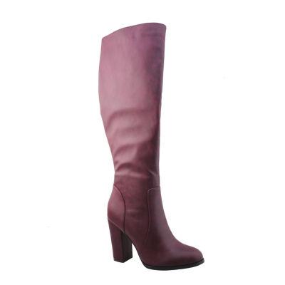 Michael Antonio Womens Holly-Pu Dress Boots Block Heel Zip
