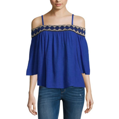 by&by 3/4 Sleeve Boat Neck Gauze Blouse-Juniors