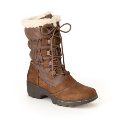 J Sport By Jambu Womens Bettie Block Heel Lace Up Boots