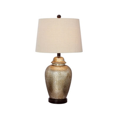 "Fangio Lighting's #5123 27.5"" Antique Brown Mercury Glass and Oil Rubbed Bronze Metal Table Lamp"