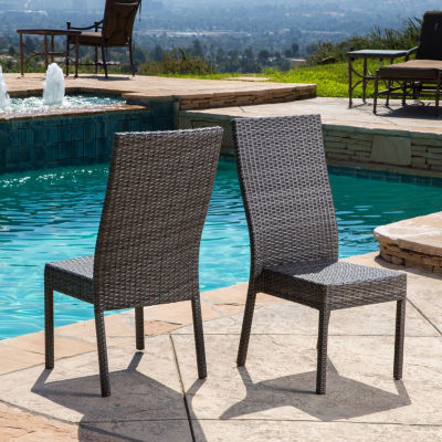 Normanni Outdoor Wicker Patio Dining Chair Set Of 2