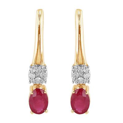 1/10 CT. T.W. Lead Glass-Filled Red Ruby 10K Gold Drop Earrings