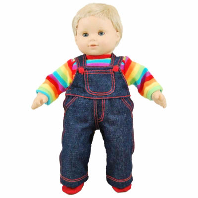 The Queen's Treasures 15 Inch Baby Doll Twin Rainbow Overalls Set