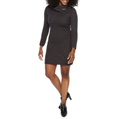 Studio 1 Long Sleeve Sweater Dress-Petite