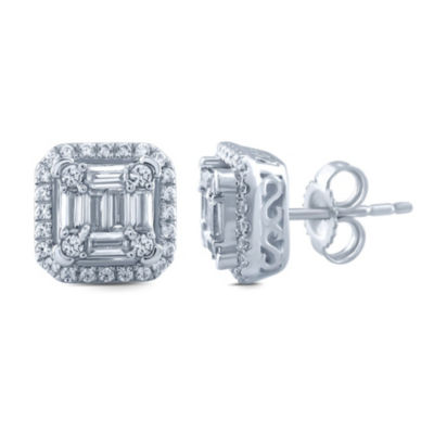 1/2 CT. T.W. Genuine White Diamond 10K White Gold Stud Earrings