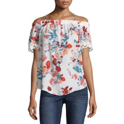 by&by Womens Short Sleeve Blouse-Juniors