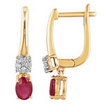 1/10 CT. T.W. Lead Glass-Filled Red Ruby 10K Gold Drop Earrings