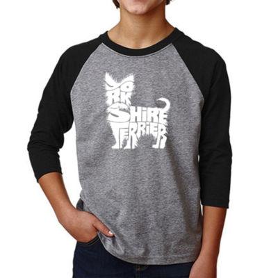 Los Angeles Pop Art Boy's Raglan Baseball Word Art T-shirt - Yorkie