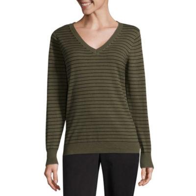 Worthington Long Sleeve V-Neck Sweater - Tall