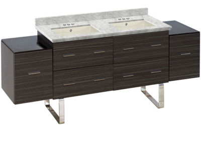 76-in. W Floor Mount Dawn Grey Vanity Set For 3H4-in. Drilling Bianca Carara Top Biscuit UM Sink