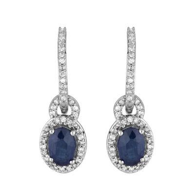 1/8 CT. T.W. Genuine Blue Sapphire 10K White Gold Drop Earrings