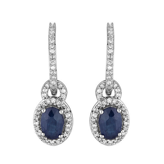 1/8 CT. T.W. Genuine Blue Sapphire 10K White Gold Drop Earrings