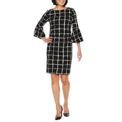 Liz Claiborne 3/4 Bell Sleeve Grid Sheath Dress