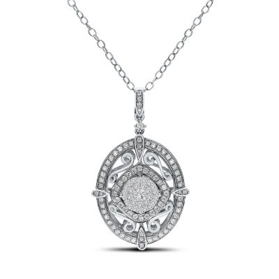 Womens 1/2 CT. T.W. White Diamond 14K White Gold Pendant Necklace