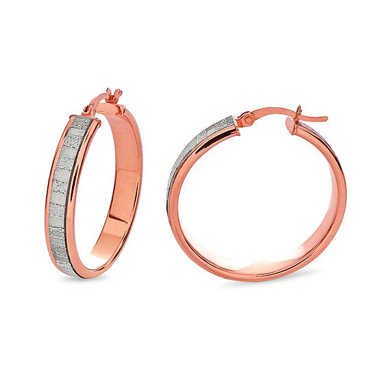 18K Rose Gold Over Silver Sterling Silver Hoop Earrings