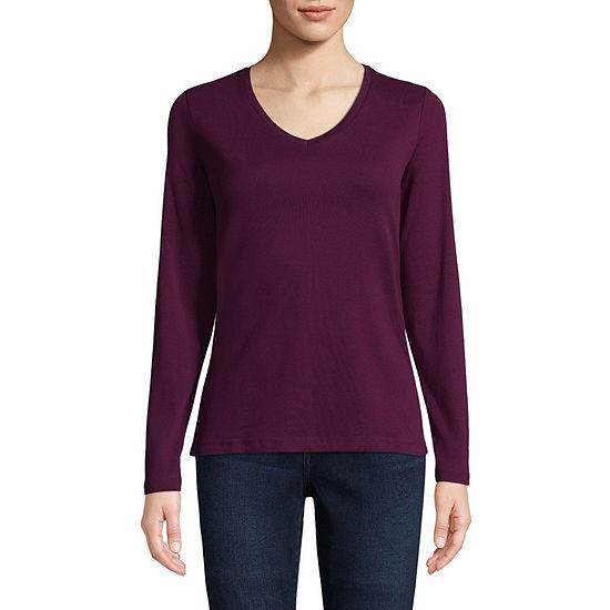 St. John's Bay Womens V Neck Long Sleeve T-Shirt