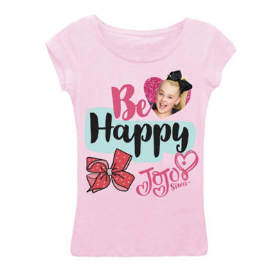 "JoJo Siwa ""Be Happy"" Short Sleeve Graphic T-Shirt with Magenta Glitter Girls 4-6"
