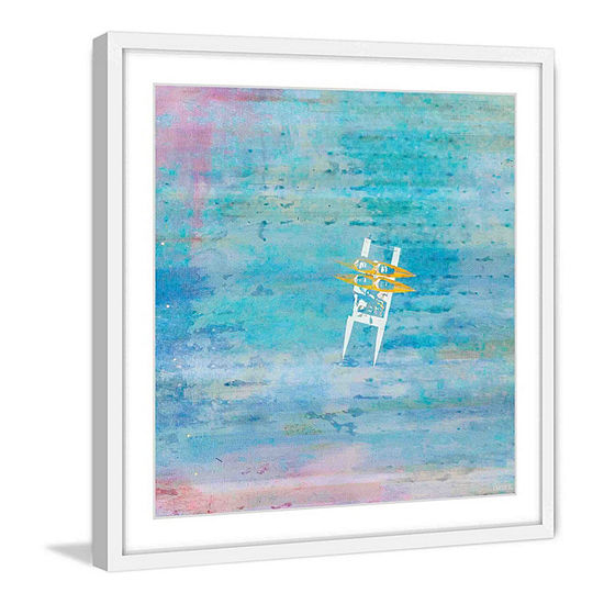 Orange Kayaks Framed Painting Print