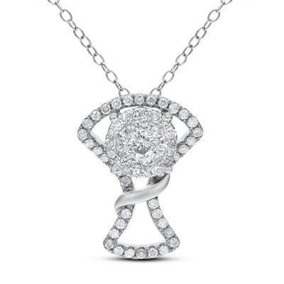 Womens 3/4 CT. T.W. White Diamond 14K White Gold Pendant Necklace