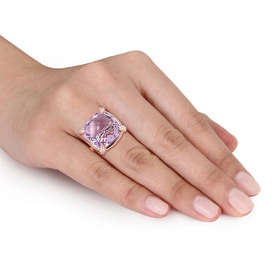 Womens Genuine Purple Amethyst 14K Rose Gold Cocktail Ring