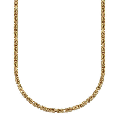 Made In Italy 10K Gold Hollow Byzantine 20 Inch Chain Necklace