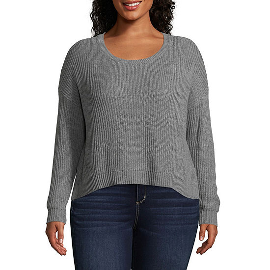Arizona Long Sleeve Scoop Neck Pullover Sweater-Juniors Plus