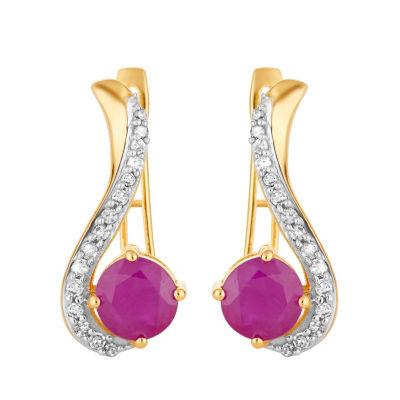 1/5 CT. T.W. Lead Glass-Filled Red Ruby 10K Gold Drop Earrings