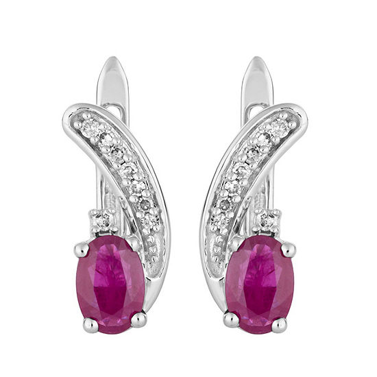 1/7 CT. T.W. Lead Glass-Filled Red Ruby 10K White Gold Drop Earrings