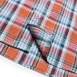 IZOD Mens Short Sleeve Plaid Button-Front Shirt