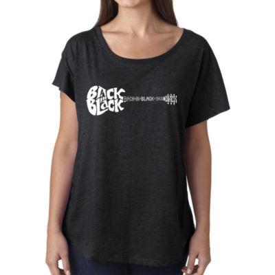 Los Angeles Pop Art Women's Loose Fit Dolman Cut Word Art Shirt - Back in Black