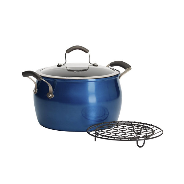 Epicurious 8-Qt. Stockpot With Rack Aluminum Dishwasher Safe Non-Stick Stockpot