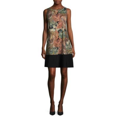 Ronni Nicole Sleeveless Paisley Shift Dress-Petite