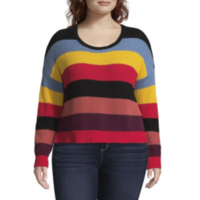 Arizona Long Sleeve Scoop Neck Stripe Pullover Sweater-Juniors Plus