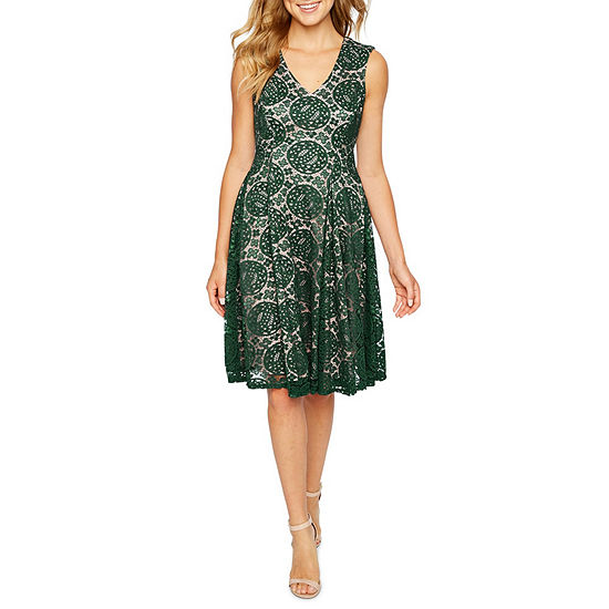 Danny & Nicole Sleeveless Lace Medallion Fit & Flare Dress