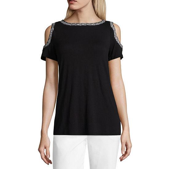 Liz Claiborne Cold Shoulder Round Neck Embroidered T Shirt