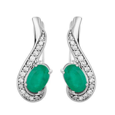 1/7 CT. T.W. Genuine Green Emerald 10K White Gold Drop Earrings