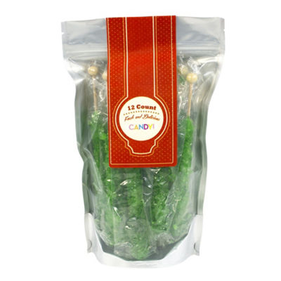 Green Apple Rock Candy Sticks 12 Count